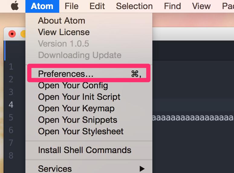 Atomの設定画面を開く