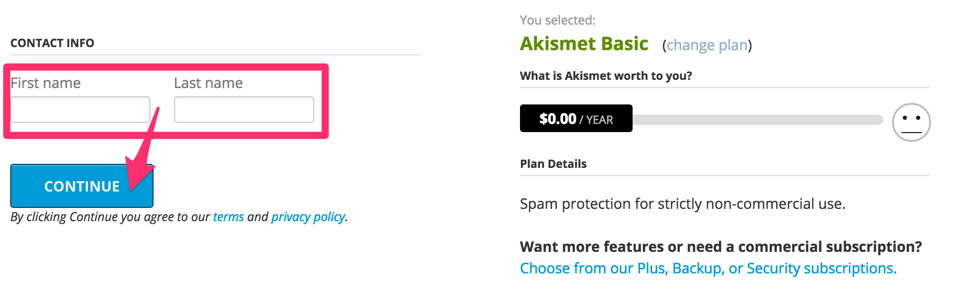 akismetの年間使用料0円画面