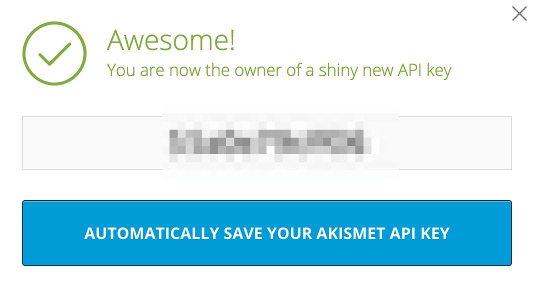 AkismetのAPI再認証完了画面