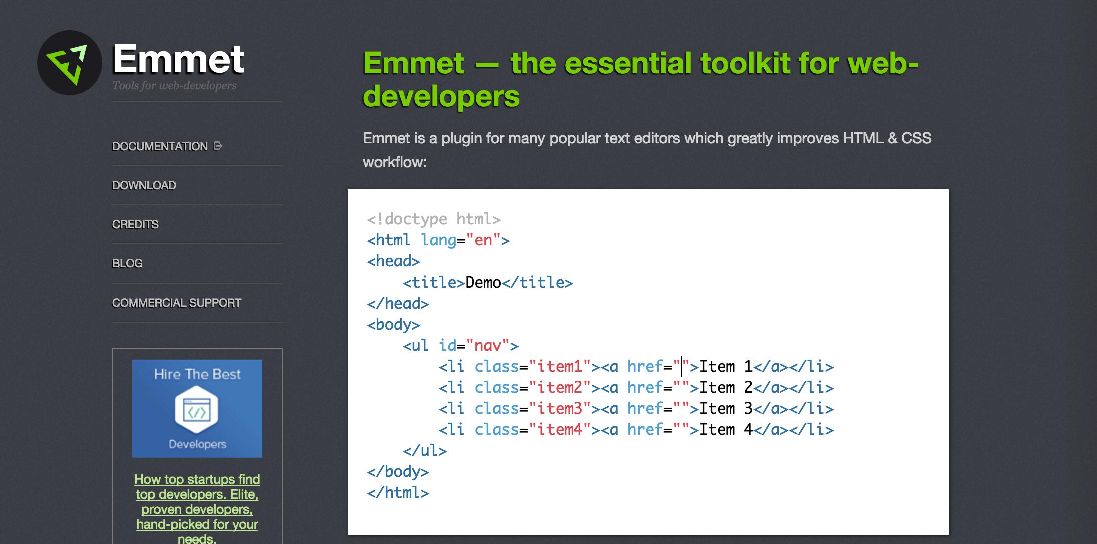 Emmetの公式サイト
