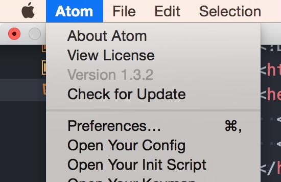 Atom > Preferences...から設定を開く
