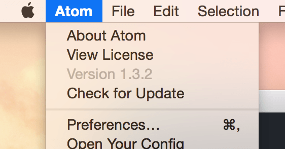 Atom > Preferences...